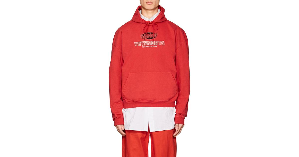 52446f0797 Vetements Logo Graffiti Cotton Hoodie in Red for Men - Lyst