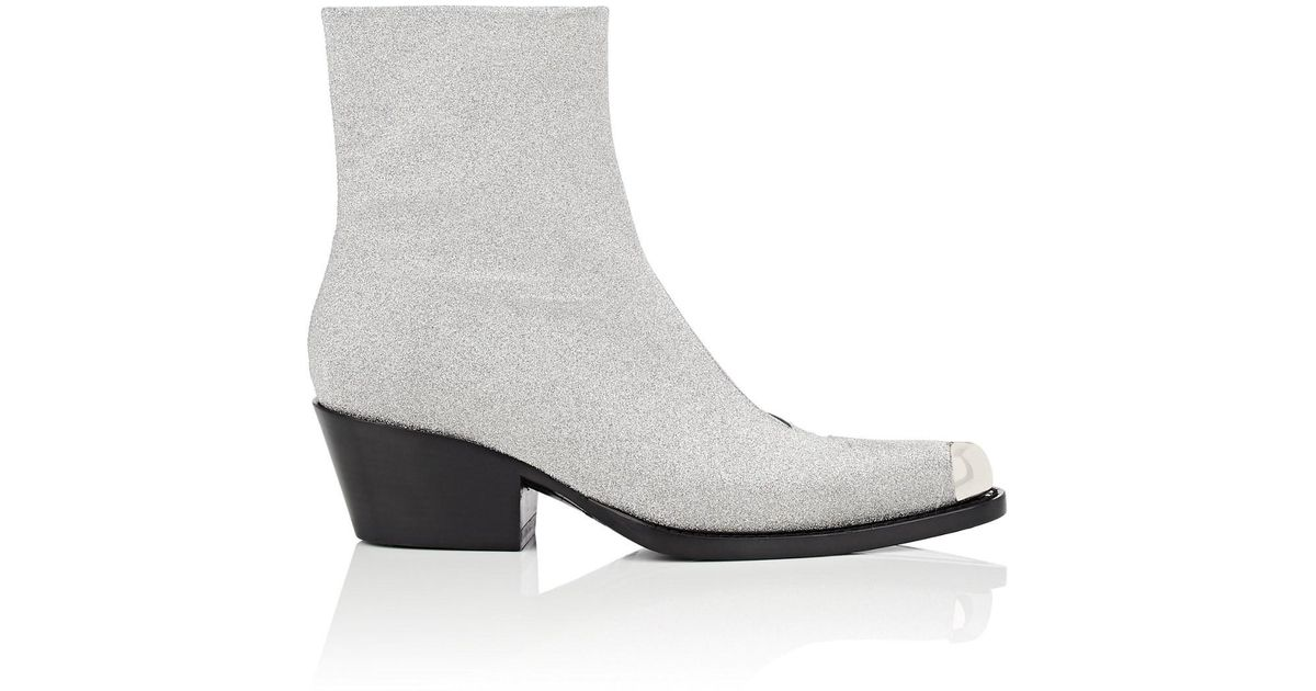 a3ef211b275e Lyst - CALVIN KLEIN 205W39NYC Metal-tipped Glitter Ankle Boots in Metallic