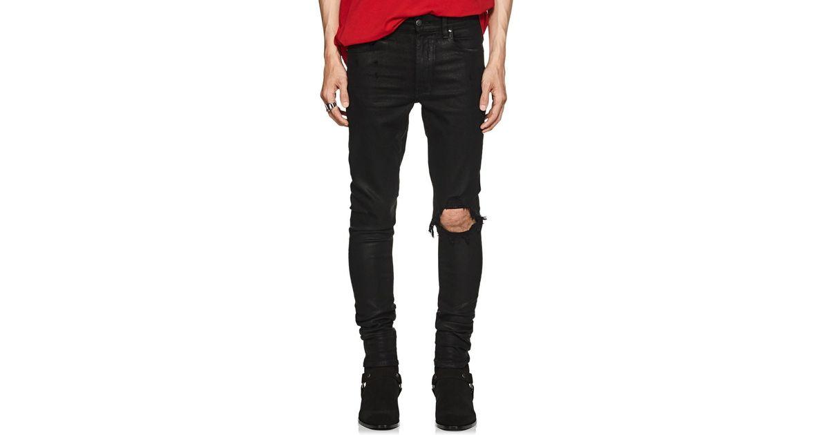 Black Men Skinny Jeans For Amiri Coated Broken 8XOPknw0