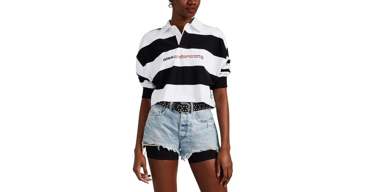 4a14b3145e81d Lyst - Alexander Wang Striped Cotton Crop Rugby Shirt in Black