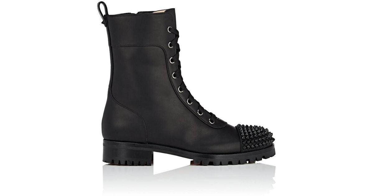 cef792cfd7c Lyst - Christian Louboutin Ts Croc Leather Combat Boots in Black