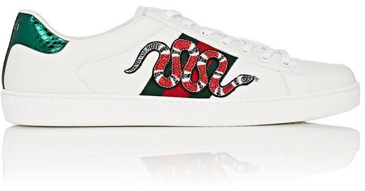 9db6aa964a6 Lyst - Gucci Snake Ace Embroidered Leather Sneaker in White for Men - Save  19%