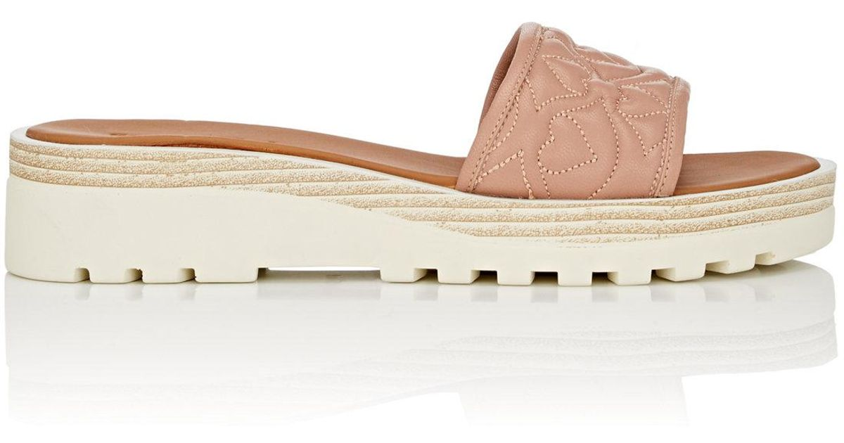 391b21faf415 Lyst - See By Chloé Quilted Leather Platform Slide Sandals