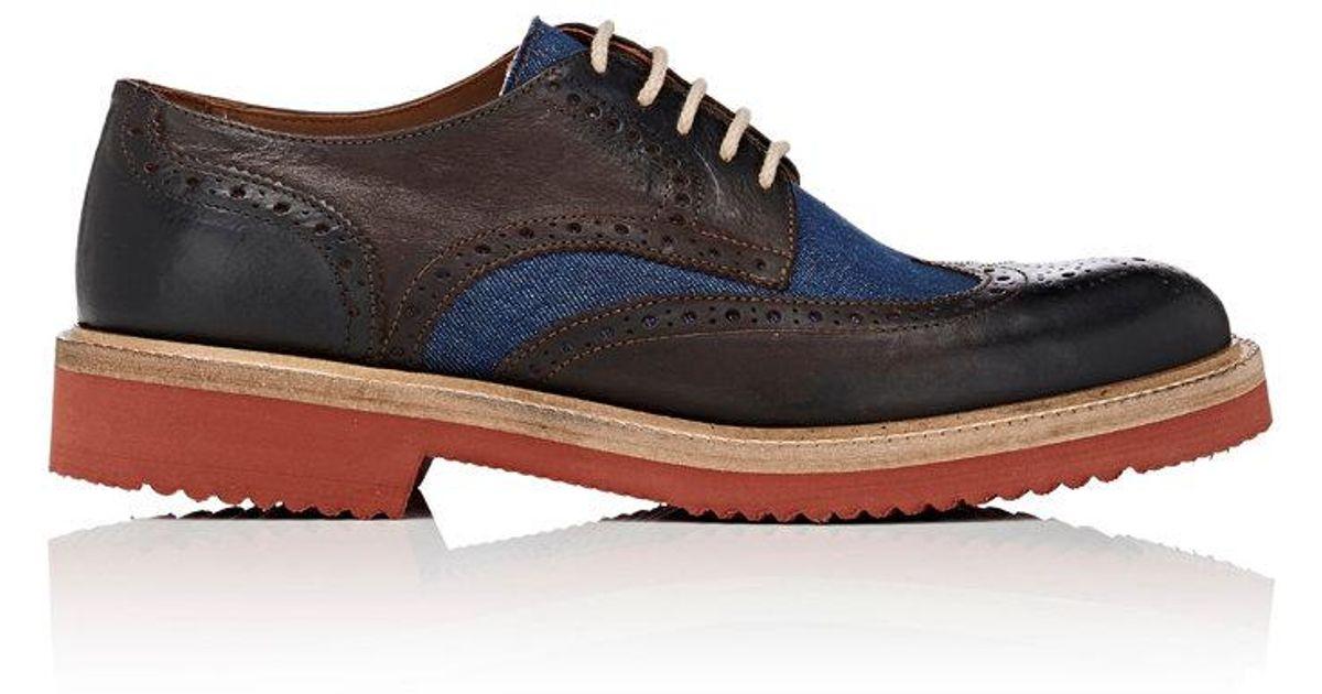 designer fashion 1f37f 081d8 barneys-new-york-DARK-BROWNBLUEBROWN-Leather-Denim-Wingtip-Bluchers.jpeg