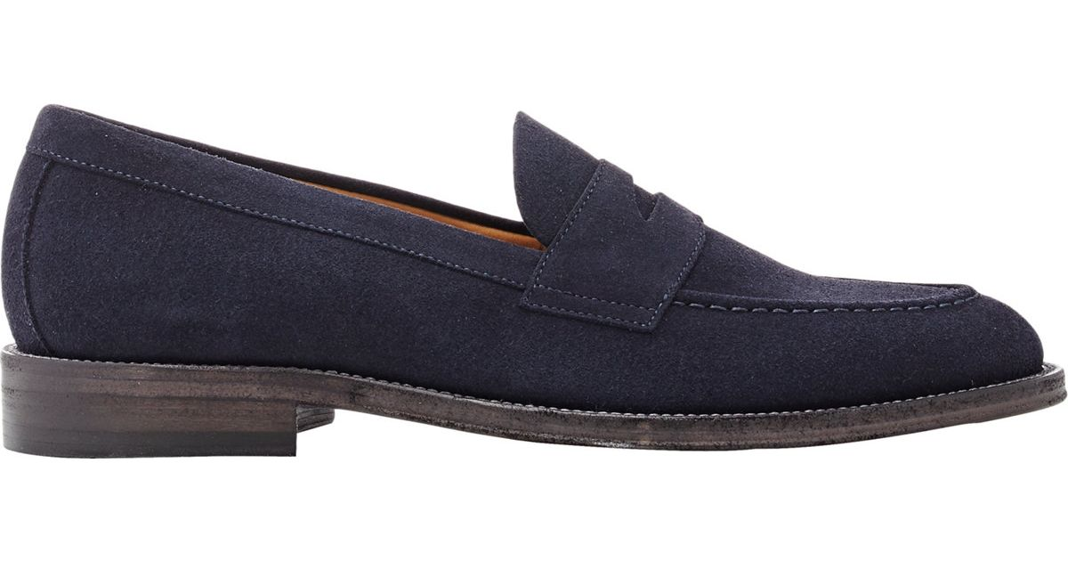 Barneys new york Suede Penny Loafers in Blue for Men | Lyst
