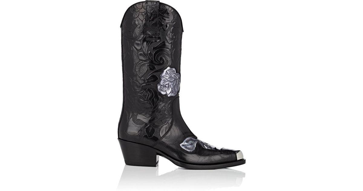 4c36b319d5a CALVIN KLEIN 205W39NYC Black Floral Leather Cowboy Boots