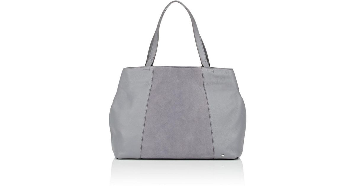 Lyst - Halston Large Leather   Suede Tote Bag in Gray d30e690f87108