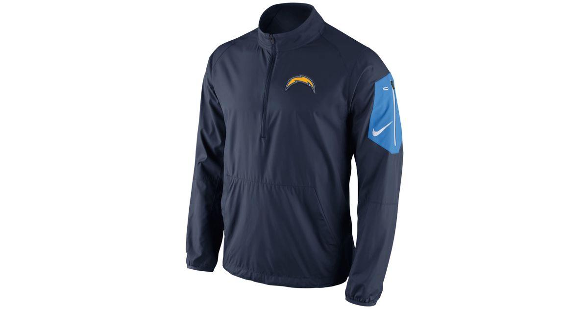 Nike Men S San Diego Chargers Lockdown Half Zip Jacket In