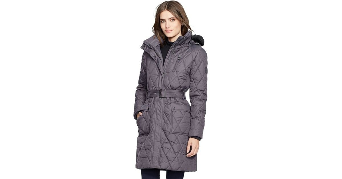790f1f74af7 Lauren by Ralph Lauren Faux Fur Trim Belted Quilted Coat in Gray - Lyst