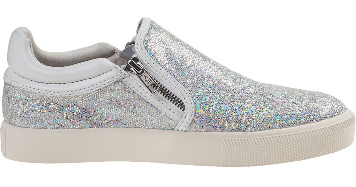 ash slip on sneaker light silver glitter in