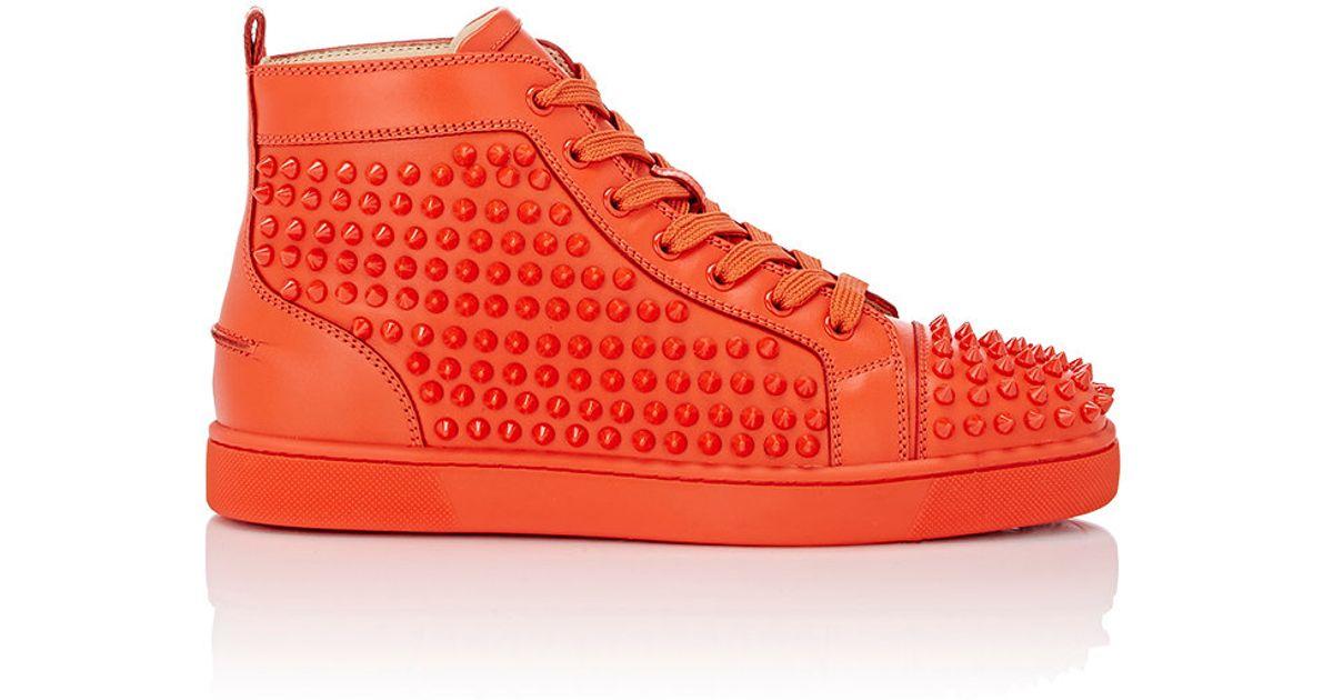 ee9cc91bd12 Christian Louboutin Orange Men's louis Flat Spike Sneakers