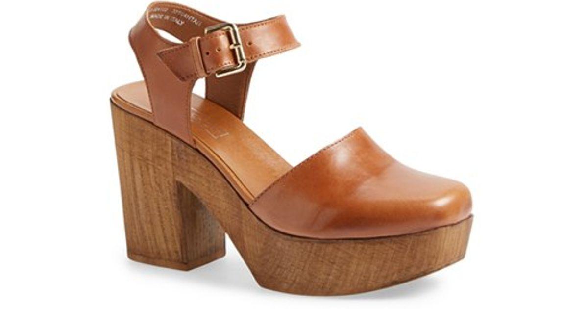 Topshop Brown Smile Wooden Platform Leather Sandal