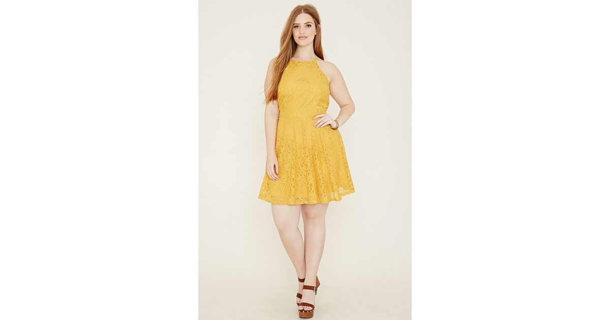 438fca38ce4 Forever 21 Plus Size Lace Cami Dress in Yellow - Lyst