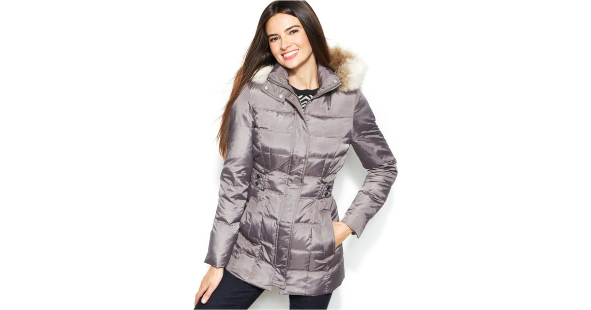 9502d1507 Inc International Concepts Faux Fur Hood Quilted Down Coat ...