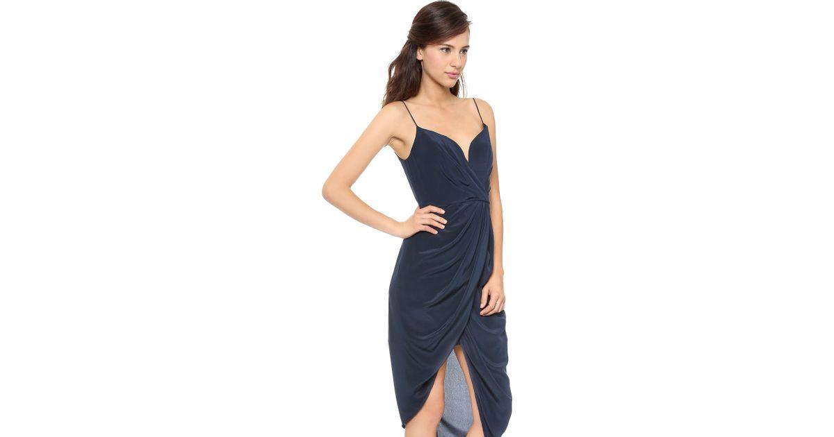 Lyst - Zimmermann Faux-Wrap Silk Dress in Blue 19a3aeaaa