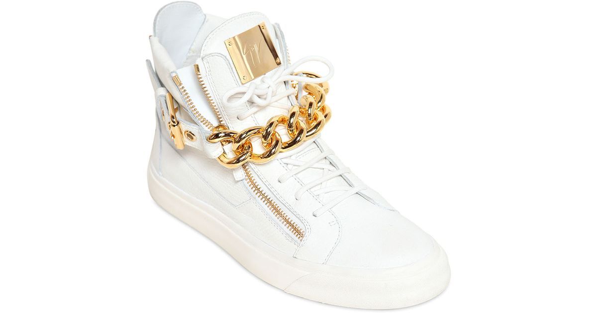 98c0d7c8cdd8 Lyst - Giuseppe Zanotti Metal Chain Leather High Top Sneakers in White for  Men