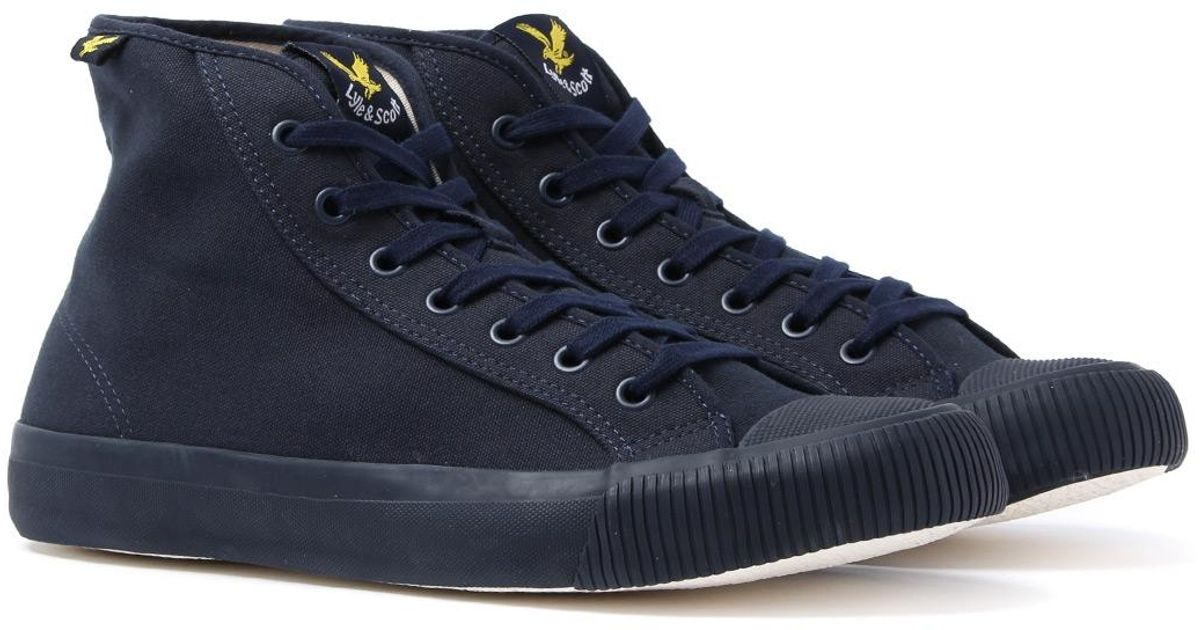 Luggie Navy Canvas High Top Trainers