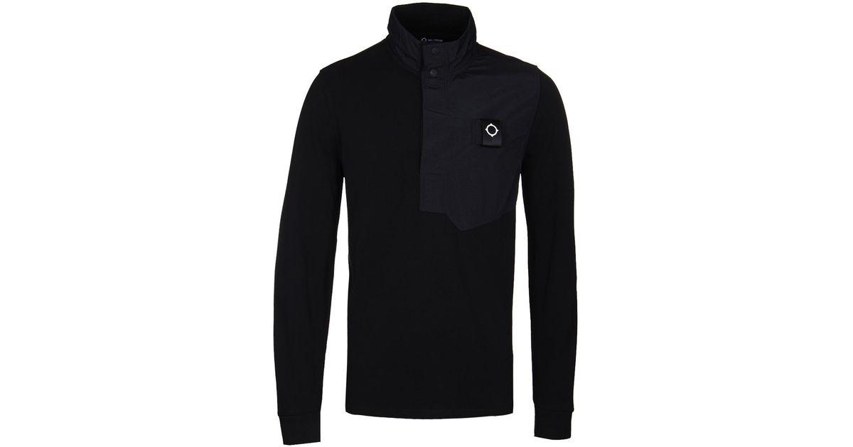 MA.Strum Mens Designer Casual Sweatshirt Merino Wool Knitted Crew Neck Jet Black