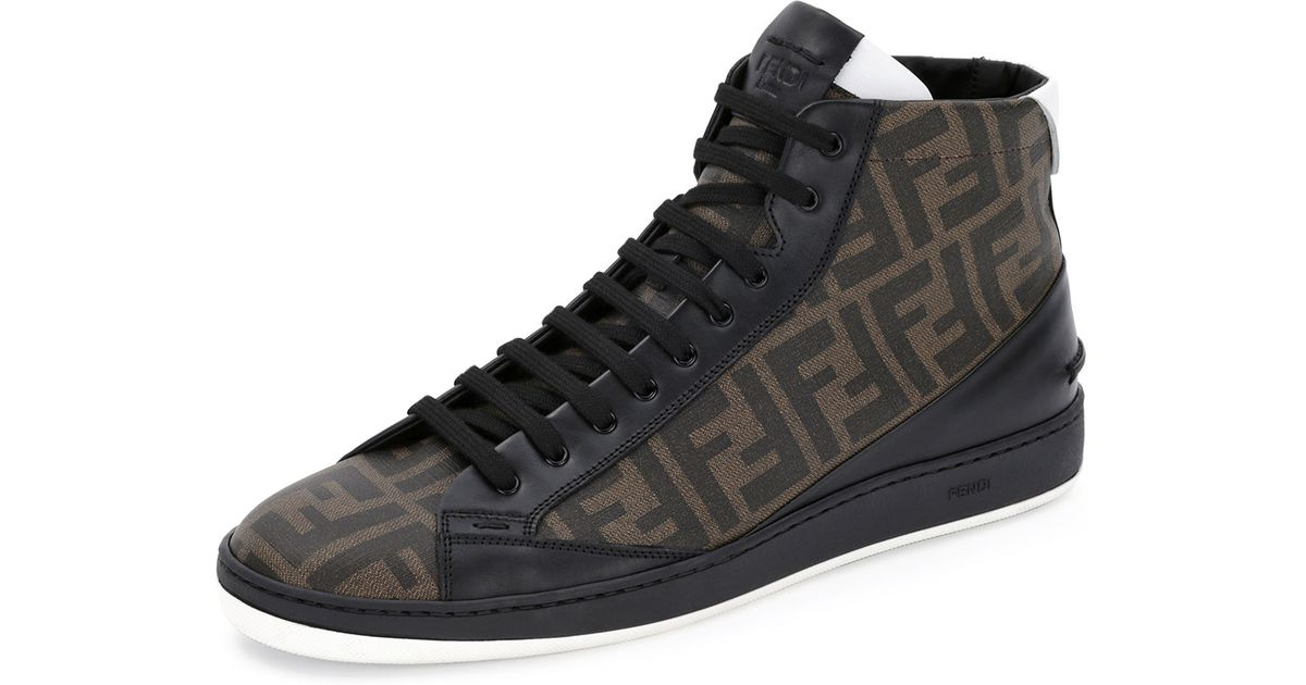 13f65d3e Fendi Brown Zucca Hightop Leather Sneaker for men