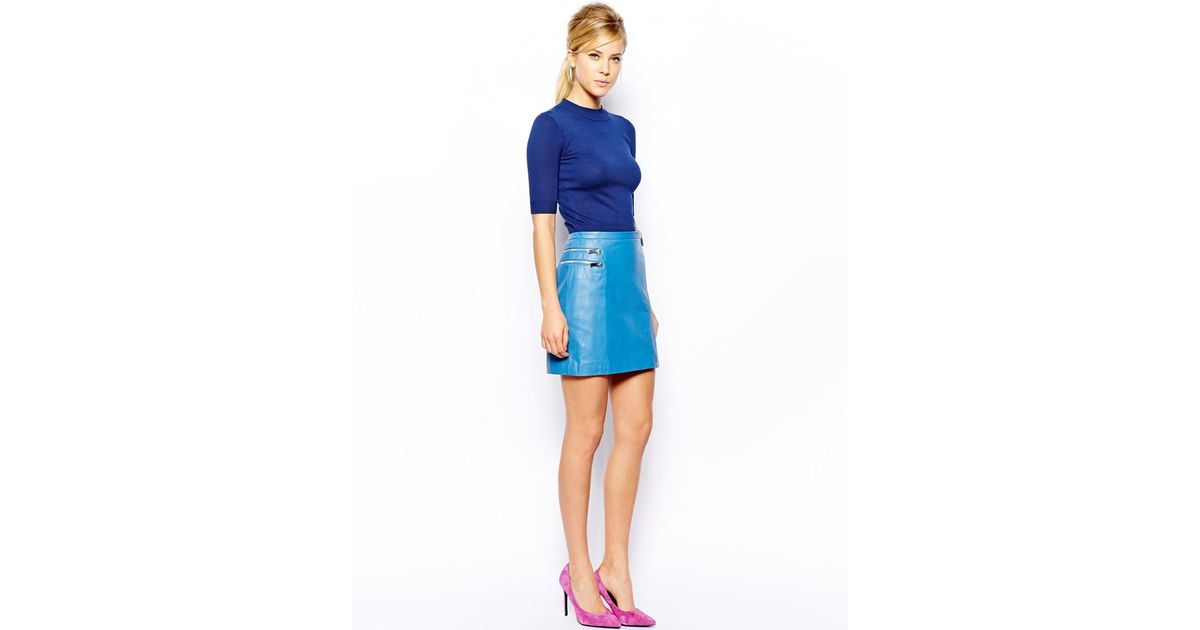 Oasis Leather Zip Mini Skirt in Blue | Lyst