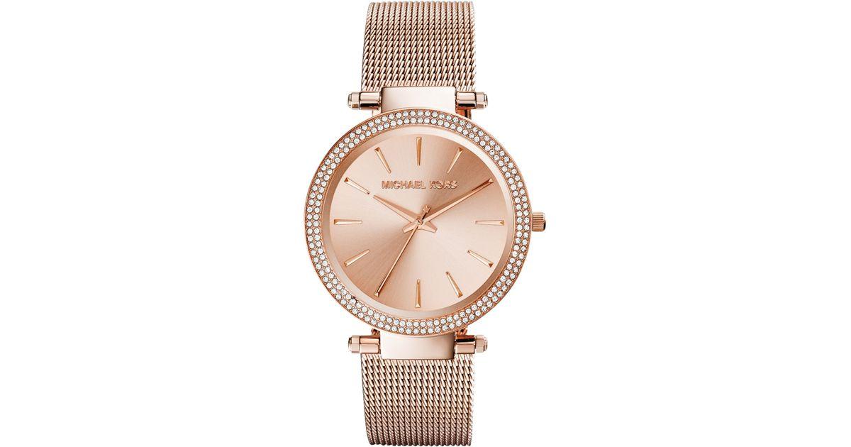 9e94b81c9bc7 Lyst - Michael Kors Women S Darci Rose Gold-Tone Stainless Steel Mesh  Bracelet Watch 39Mm Mk3369 in Metallic