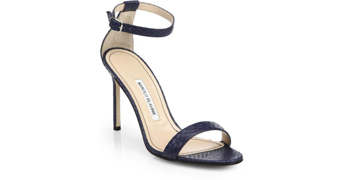 84355f9c6875 Lyst - Manolo Blahnik Chaos Snakeskin Sandals in Blue