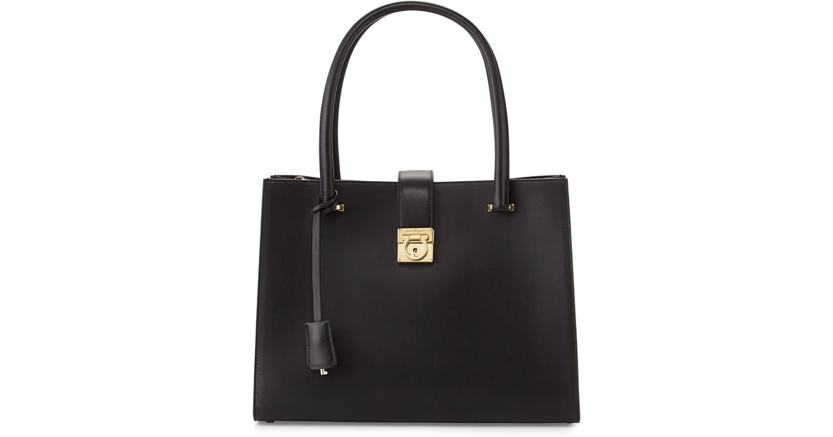 Lyst - Ferragamo Marlene Gancini-lock Tote Bag in Black d7260306e0