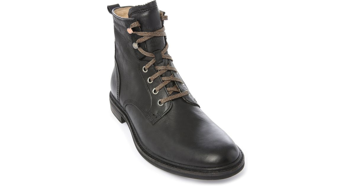 ugg selwood black leather boots with laces in black for