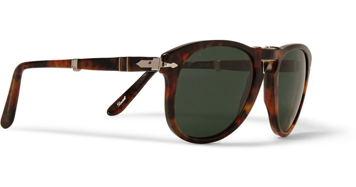 3a394d4c1c Lyst - Persol Round-Frame Folding Tortoiseshell Sunglasses in Brown for Men