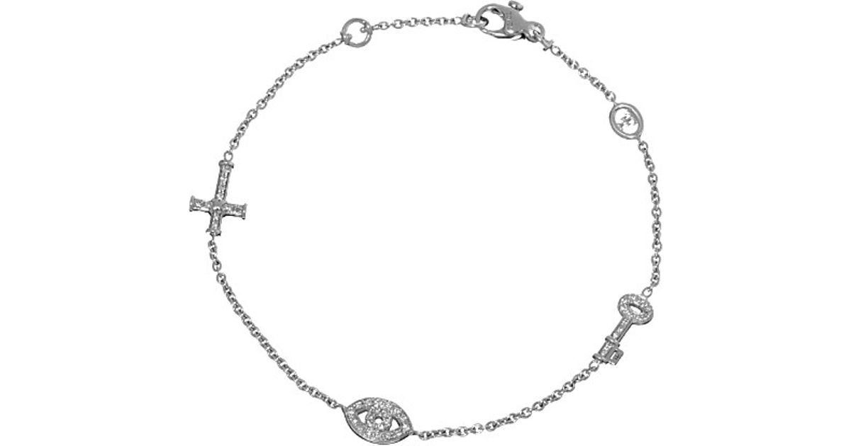 2126acabdef958 Theo Fennell 18ct White-gold Key And Pave Diamond Cross And Evil Eye  Bracelet in White - Lyst