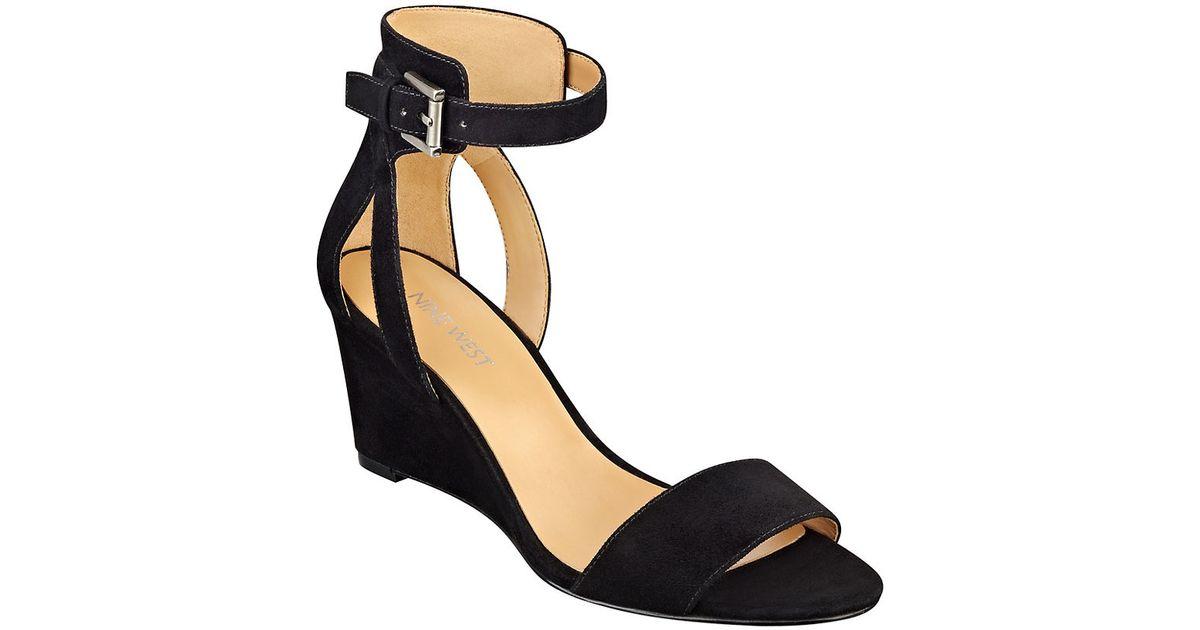 67b1ecbde1de Nine West Nobody Suede Wedge Sandals in Black - Lyst