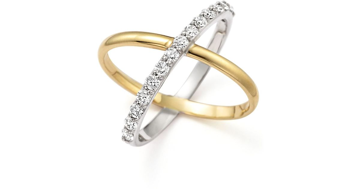kc designs quot x quot ring in 14k yellow and white gold