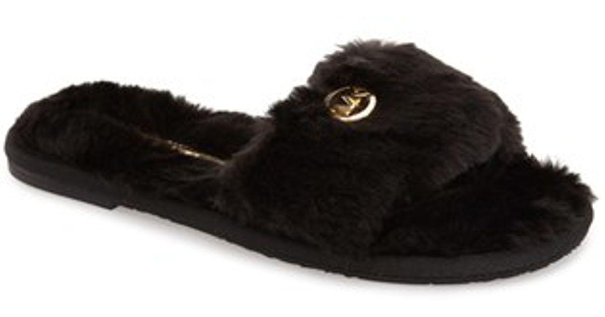 88edbd770031 Lyst - MICHAEL Michael Kors Faux Fur Slide Slipper in Black