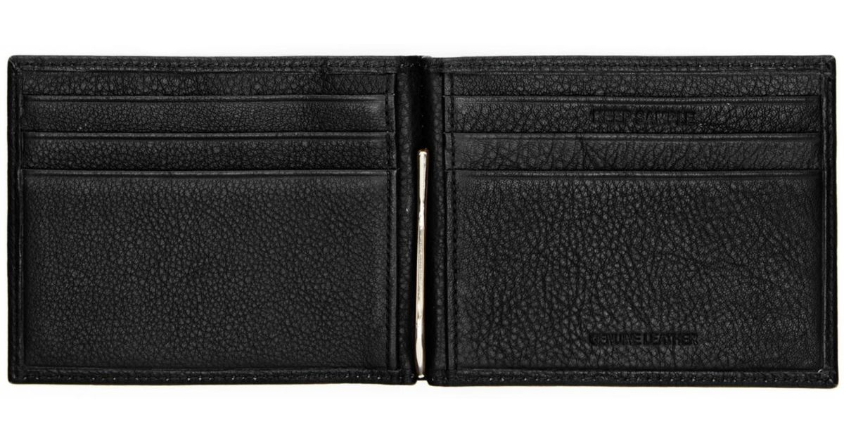 check out 6ba44 a4b53 Perry Ellis Black Pebbled Bifold And Silver Money Clip for men