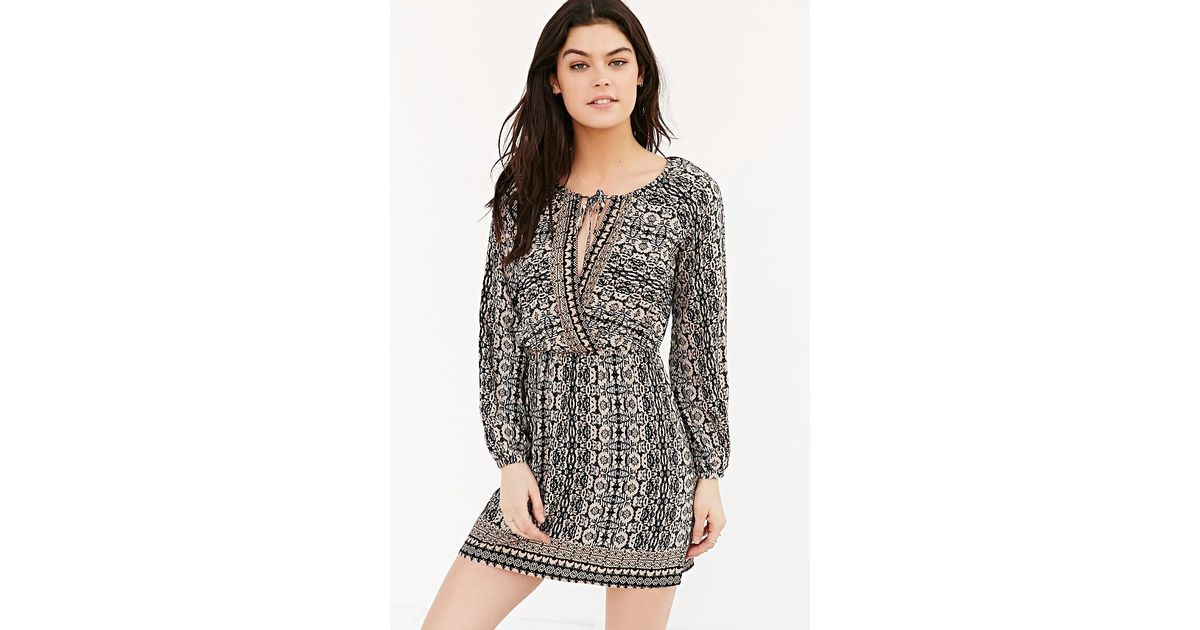 Lyst - Cope Long-sleeve Printed Tunic Dress in Black 052762c7c