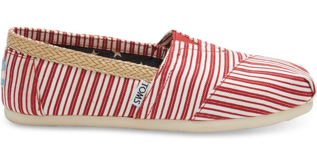TOMS Americana Red Stripe Women s Classics in Red - Lyst 017b239b6