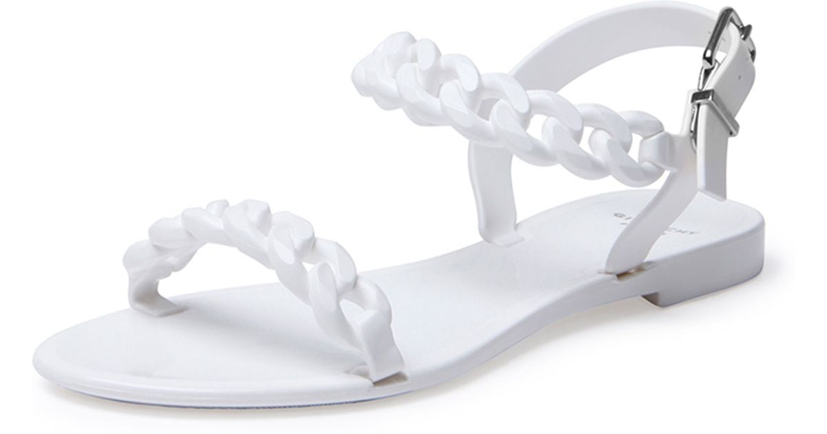 e68544613a7f Givenchy Chain Jelly Flat Sandal in White - Lyst