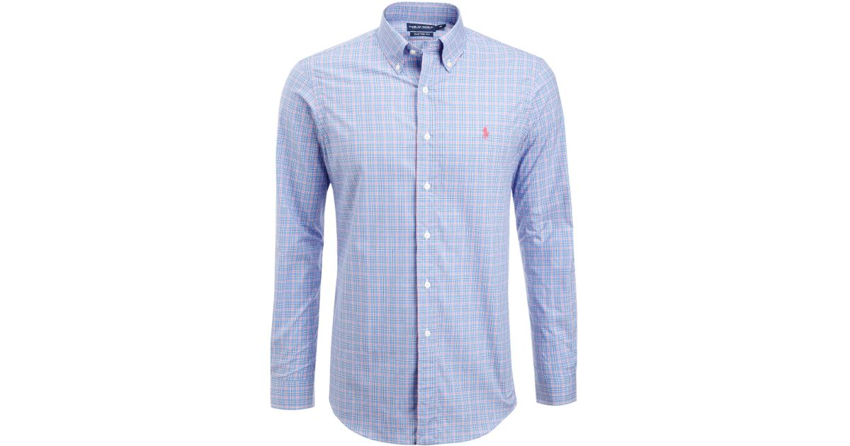 Lyst polo ralph lauren custom fit check shirt in blue for Personalised golf shirts uk