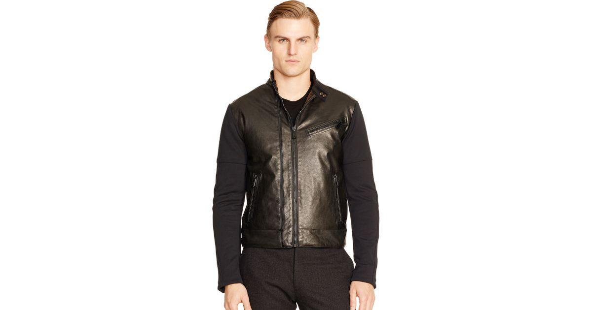 67850e1812 Ralph Lauren Black Label Black Leather-trim Moto Sweater for men