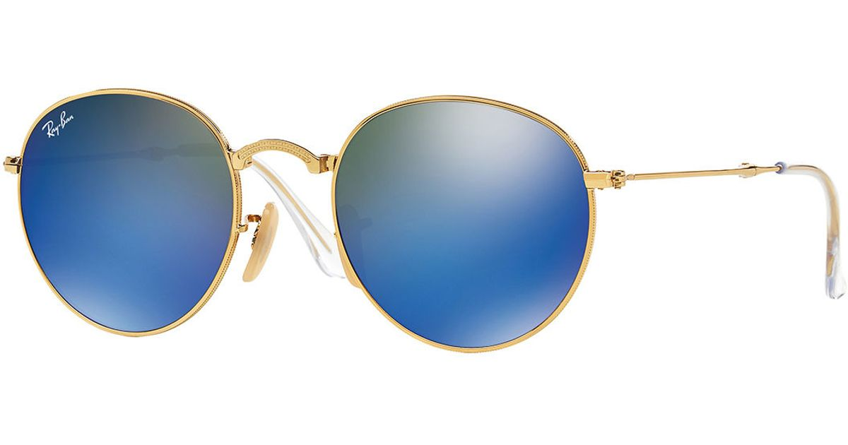 Ray-ban Men's Etched Round Mirrored Sunglasses in Blue