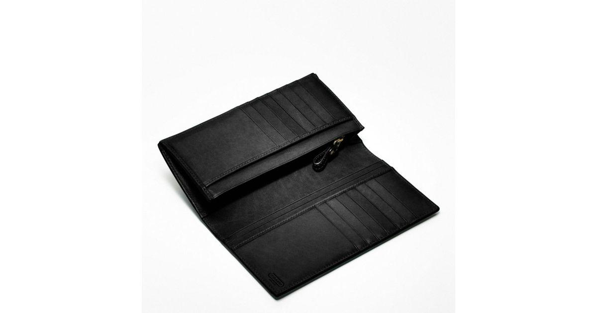 b40b0e83 COACH Black Bleecker Breast Pocket Wallet in Leather for men
