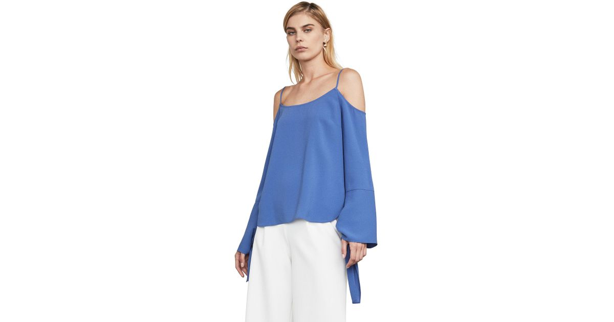 cdcedd190e0b8e Lyst - Bcbgmaxazria Bcbg Nicholette Cold-shoulder Top in Blue