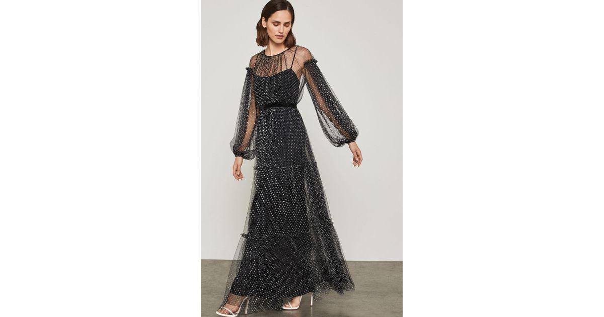 e5b46dc95ee9 Lyst Bcbgmaxazria Bcbg Flocked Dot Mesh Dress In Black