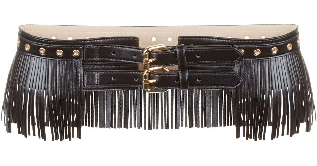 bcbgmaxazria fringe faux leather waist belt in black lyst