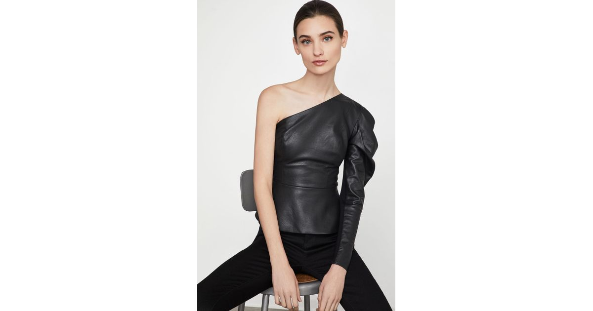 d42ae65879ad7f Lyst - BCBGMAXAZRIA Bcbg Lilyan Faux-leather Peplum Top in Black