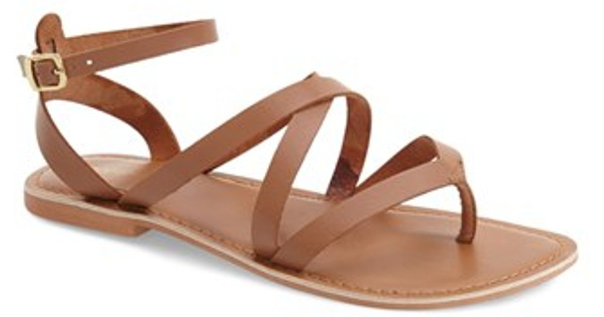 706404aefebf5 Lyst - TOPSHOP  hercules  Strappy Leather Thong Sandal in Brown