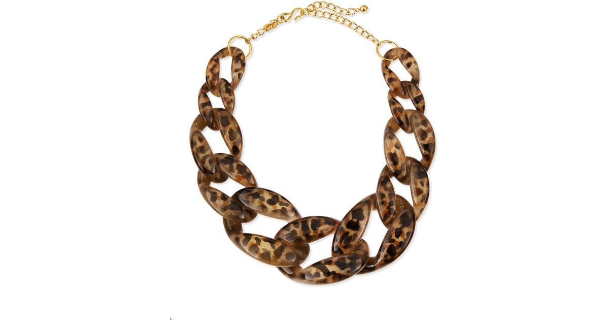 Kenneth jay lane Leopard-print Enamel Link Necklace in ...