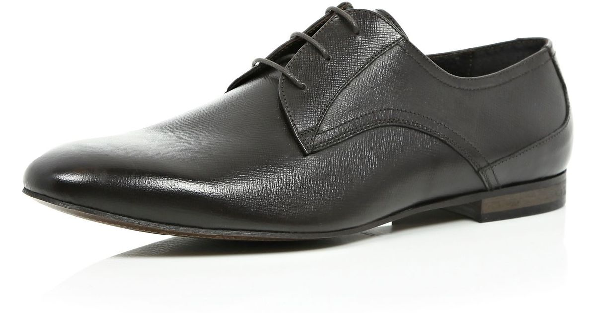river island brown textured leather formal shoes in