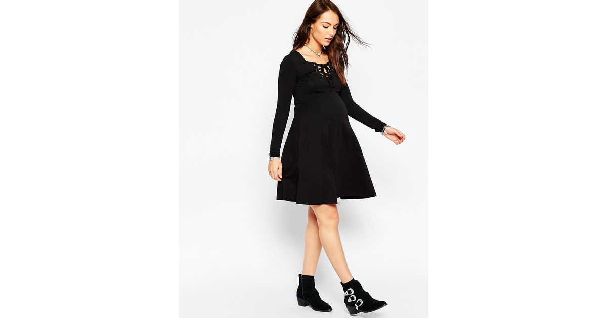 Lyst Asos Skater Dress With Lace Up Front In Black