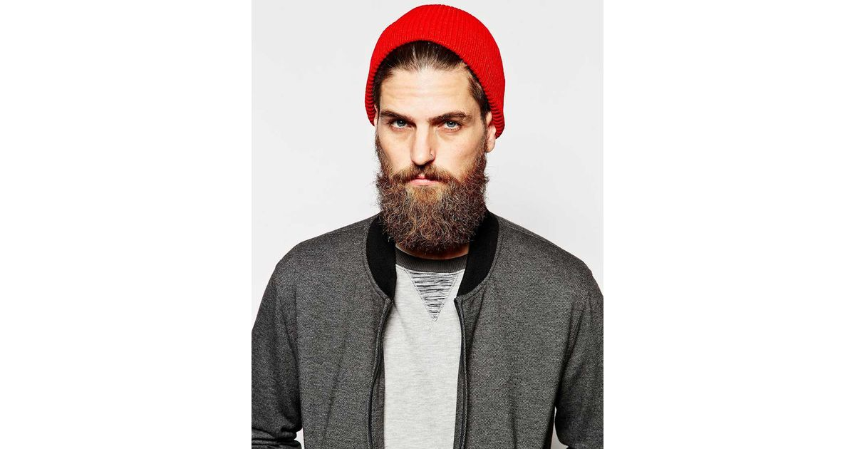 Lyst - ASOS Fisherman Beanie Hat in Red for Men 972c6484fc4